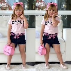 Baby Girl Clothes Cute Cotton T-Shirt Tops Denim Short Pants Bowknot Headband Outfits Little Girl Outfits, Toddler Girl Outfits, Cute Little Girls, Kids Outfits, Moda Kids, Designer Baby Clothes, Mo S, Cute Baby Clothes, Kids Wear