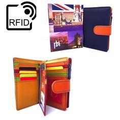 Prime Hide RFID BLOCKING NEW UK London Multi Coloured Leather Purse 6080