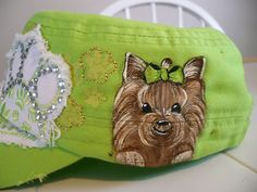 So CUtE! Handpainted yorkie cap!! on ebay by misspaintsalot!