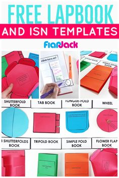 SO many options for creating lapbooks & interactive notebooks with these free templates. Grab them free when you fill out a quick teacher survey at FlapJack.