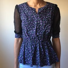 Floral + Sheer Peplum Blouse Ships NEXT DAY ⚡️⚡️ Holds are cool  Bundles are freakin awesome!  No trades. Fck all that  No paypal. Too confusing  Don't call me Hun    Follow me on Instagram : @digitalgirl Tops Blouses