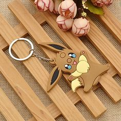 Amazon.com: Cute Rubber Cartoon Keyring Eevee Family Member Double Sides Image Keychain 1Pc: Clothing