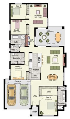 Marcoola 269 Home Design One Level House Plans, One Level Homes, Family House Plans, Best House Plans, Dream House Plans, Duplex Floor Plans, Floor Plan 4 Bedroom, 4 Bedroom House Plans, Home Design Floor Plans