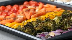 Foil Pack Chicken And Rainbow Veggies Serves 4 INGREDIENTS Vegetables 1 medium-size red onion, diced 2 cups broccoli florets 1 yellow bell pepper, sliced 2 c...
