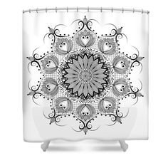 """Zendala - Zentangle - Mandala  Shower Curtain by Sharon Norman.  This shower curtain is made from 100% polyester fabric and includes 12 holes at the top of the curtain for simple hanging.  The total dimensions of the shower curtain are 71"""" wide x 74"""" tall."""