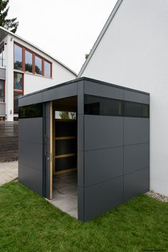 Design Gartenhaus gart wood in München by designgarten Augsburg Germa… Garden Tool Storage, Shed Storage, Garden Tools, Backyard Sheds, Backyard Landscaping, Garden In The Woods, Home And Garden, Painted Garden Sheds, Outdoor Bike Storage