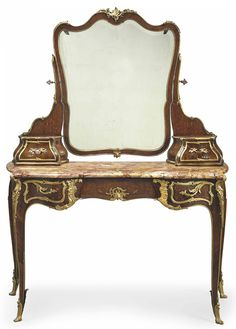 A FRENCH ORMOLU-MOUNTED KINGWOOD, SATINE AND MARQUETRY DRESSING TABLE  BY ZWEINER-JANSEN SUCCESSEUR, PARIS, LATE 19TH/EARLY 20TH CENTURY  With shaped mirror plate above two drawer supports and red-veined shaped marble top, with slight cabriole legs, the mounts variously numbered and inscribed ZJ