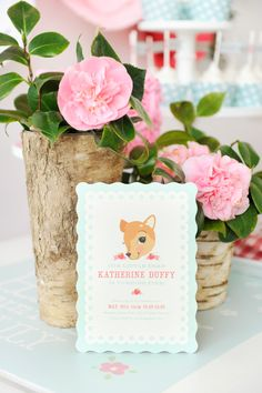 Celebrate the sweet little deer in your life with Minted + Happy Wish Company's vintage-inspired Fancy Fawn birthday party! Stationery design by Melissa Egan / Pistols, available on Minted.