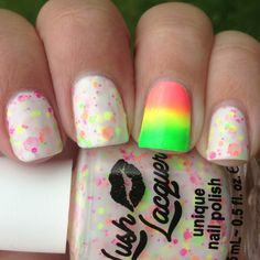 Neon Lights (Lush Lacquer) w a Neon Gradient Accent Nail