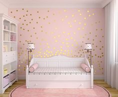 Metallic Gold Wall Decals Polka Dot Wall Sticker Decor - Inch, Inches Circle Vinyl Wall Decal - Interior Design Tips and Ideas