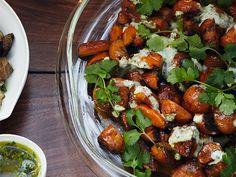 Christmas Eve Dinner: Roasted Carrots with Cumin Yogurt Recipe  | Epicurious.com