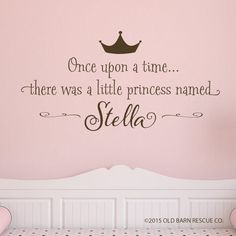Once upon a time there was a little princess named - personalized vinyl wall decal room decor vinyl Toddler Princess Room, Disney Princess Nursery, Girls Princess Bedroom, Princess Room Decor, Little Princess, Disney Girls Room, Princess Girl, Cutting Edge Stencils, Nursery Wall Decals