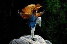 This monk stands in a kung fu Shaolin pose.