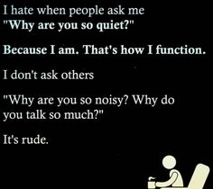 """"""" introvertproblems: """"If you can relate to an Introvert, Join the Introvert Nation """" I hate being asked that. Favorite Quotes, Best Quotes, Life Quotes, Funny Quotes, Quotes Quotes, Gospel Quotes, Cover Quotes, Sarcastic Quotes, Poetry Quotes"""