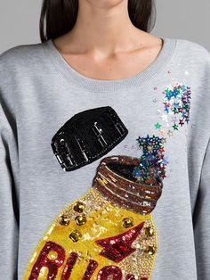 ASHISH WOMEN'S GREY SEQUIN RUSH SWEATER Bordados Tambour, Custom Denim Jackets, Shirt Refashion, Beaded Embroidery, Embroidery Fabric, Fashion Fabric, Custom Clothes, Shirts For Girls, Shirt Designs