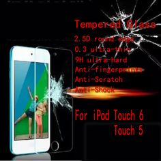 Tempered Glass Screen Protector For Apple iPod Touch 5 / Touch 6 2.5D Ultra Thin 9H Tempered Glass With Retail Package