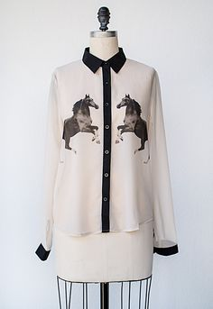 vintage inspired horse print blouse with pipe trim | Black Stallion Blouse