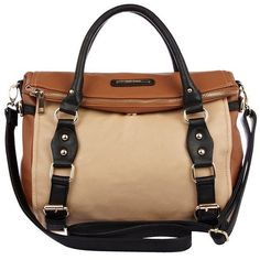 River Island Beige colour block fold over satchel bag ($52) ❤ liked on Polyvore