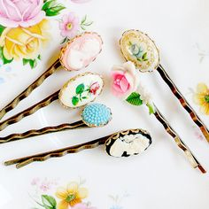 Vintage Cameo Bobby Pin Collection SET OF by NestPrettyThingsKids, $30.00