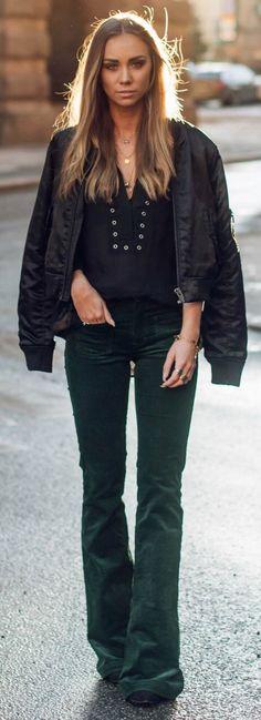 Pants, Zara. Shirt & bomber jacket, Gina Tricot.