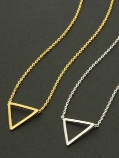 Gold or silver open triangle delicate necklace! The triangle can represent stability, power and energy! only 14 dollars!
