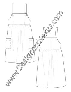 008- fashion flat sketch apron jumper dress - FREE download and more flat fashion sketches in Illustrator & .png at designersnexus.com!