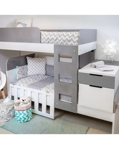 Cama doble, Cama superpuesta Bunk Bed Crib, Low Bunk Beds, Kids Bunk Beds, Baby Bedroom, Baby Boy Rooms, Girls Bedroom, Bedroom Decor, Baby And Toddler Shared Room, Shared Boys Rooms