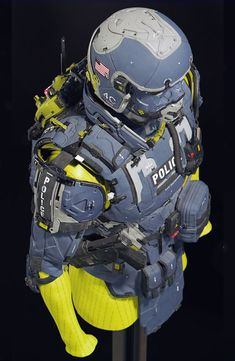 ArtStation - Police Vest Blue - Repost with Crops, Mike Andrew Nash Armadura Steampunk, Warrior Within, Armor Concept, Fantasy Character Design, Conceptual Art, Sci Fi Art, Cosplay, Fantasy Characters, Cyberpunk