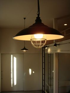 industrial lamp in modern apartment