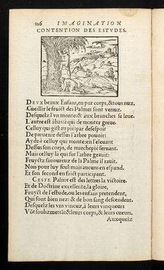 CONTENTION DES ESTUDES. Page from: Barthélemy Aneau. Imagination poétique, Lyons, Macé Bonhomme, 1552