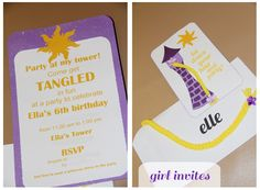 A Bushel and a Peck of FUN: Rapunzel Party Details - girl invites (tower from silhouette)