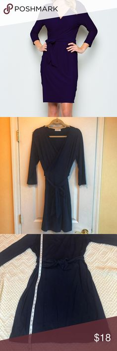 Aime - Navy Wrap Dress Wrap yourself up in this dress featuring on-trend three-quarter sleeves and a flattering wrap waistline. Never worn but without tags!  95% polyester / 5% spandex Hand wash; hang dry Size - Large Not lined Aime Dresses