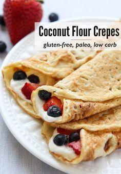 Coconut Flour Crepes that are gluten-free, paleo and low carb. Add your favorite fillings like whipped (coconut) cream and berries for a wholesome treat. Paleo Recipes, Low Carb Recipes, Cooking Recipes, Coconut Flour Recipes Low Carb, Tapioca Flour Recipes, Anti Candida Recipes, Paleo Flour, Budget Recipes, Crockpot Recipes