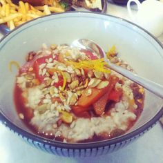 delicious organic porridge with quince, berries, nuts and seeds #yum #breakfast #erskinevilla #date #sydneyeats #weekend
