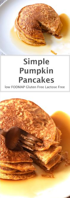 A perfect autumn breakfast! Simple pumpkin pancakes with maple syrup. Low FODMAP, gluten-free and lactose-free.