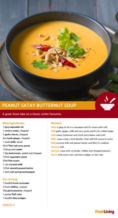 Between rainy Durban, bone-chilling Joburg and icy Cape Town, it would seem that most of SA is in need of a warm pick-me-upper! Peanut satay butternut soup, anyone? Cheese Dip Recipes, Soup Recipes, Recipies, Cooking Recipes, Healthy Recipes, Butternut Soup, Food Cost, South African Recipes, Liquid Diet