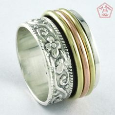 Sz 7 US,TENSION REMOVER FLOWERINESS 925 STERLING SILVER SPINNER RING,R4454 #SilvexImagesIndiaPvtLtd #Spinner #AllOccasions