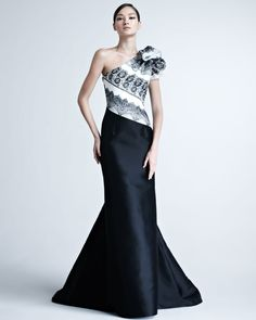 One-Shoulder Gown with Striped Bodice by Carolina Herrera
