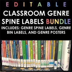 Classroom Genre Spine Labels BUNDLE by Cyr's Gears   TpT Classroom Supplies, Classroom Themes, Classroom Resources, Teaching Resources, Bin Labels, Genre Labels, Traditional Literature, Genre Posters, Library Organization