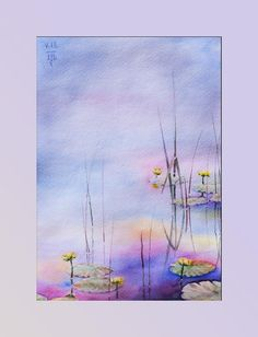 Water Lilies Painting Original Watercolor Wall Art Canvas Fine Art Floral by NataliWorkshop on Etsy Water Lilies Painting, Watercolor Water, Watercolor Art Paintings, Easy Watercolor, Abstract Watercolor, Watercolor Flowers, Original Paintings, Lily Painting, Alcohol Ink Painting