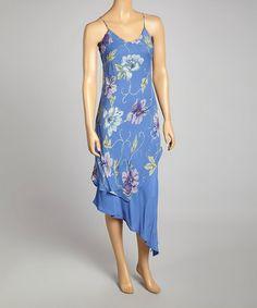 Look at this #zulilyfind! Blue & Lilac Floral Bias Cut Dress - Women #zulilyfinds