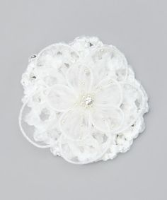 White Pearl Crocheted Bun Cover