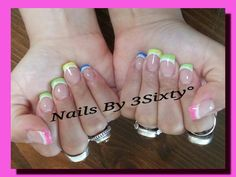 Layered white and neon French. With diamond glitter polish accents. Gel nail art. Summer nail art.