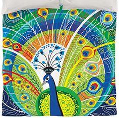 Thumbprintz Duvet Cover, Queen/Full, Peacock Face in Blue