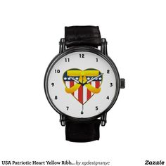USA Patriotic Heart Yellow Ribbon Wrist Watch. #Patriotic #Military #USA #Watch