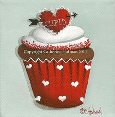 Valentine Cupcake Print Cupid's Arrow by catherineholman on Etsy, $16.95