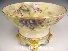 LIMOGES FRANCE HAND PAINTED GRAPES PUNCH BOWL ON PLINTH