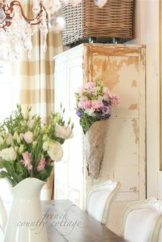 cottage french shabby romantic vintage bathroom kitchen dining room bedroom tour home French Country Kitchens, French Country Cottage, French Country Style, Cottage Style, Cottage Farmhouse, French Chic, French Decor, French Country Decorating, Chicken Wire Crafts