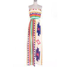 Boho Aztec Maxi Dress Long Dress Colorblock Geometric on Wanelo