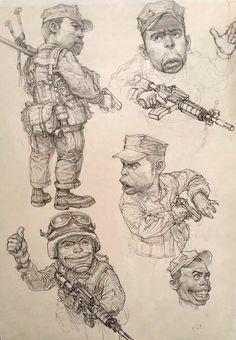 Kim Jung Gi Cool Sketches, Drawing Sketches, Drawings, Sketchbook Inspiration, Art Sketchbook, Illustrations, Illustration Art, Junggi Kim, Character Art
